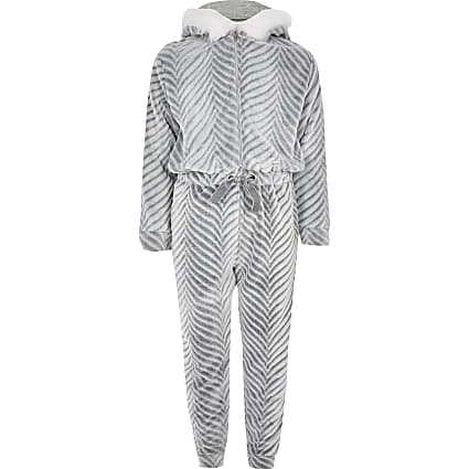 Girls grey faux fur tie waist onsie