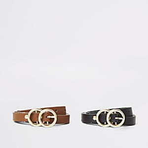 Girls black double circle belt multipack