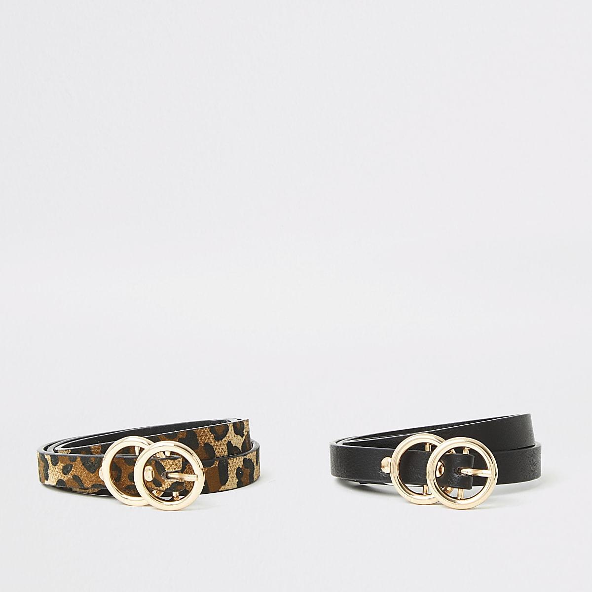 Girls black 2pk plain + print belts