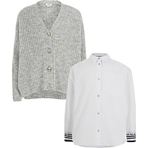 Outfit mit grauer Strickjacke und Hemd