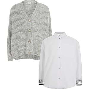 Ensemble chemise et cardigan gris pour fille