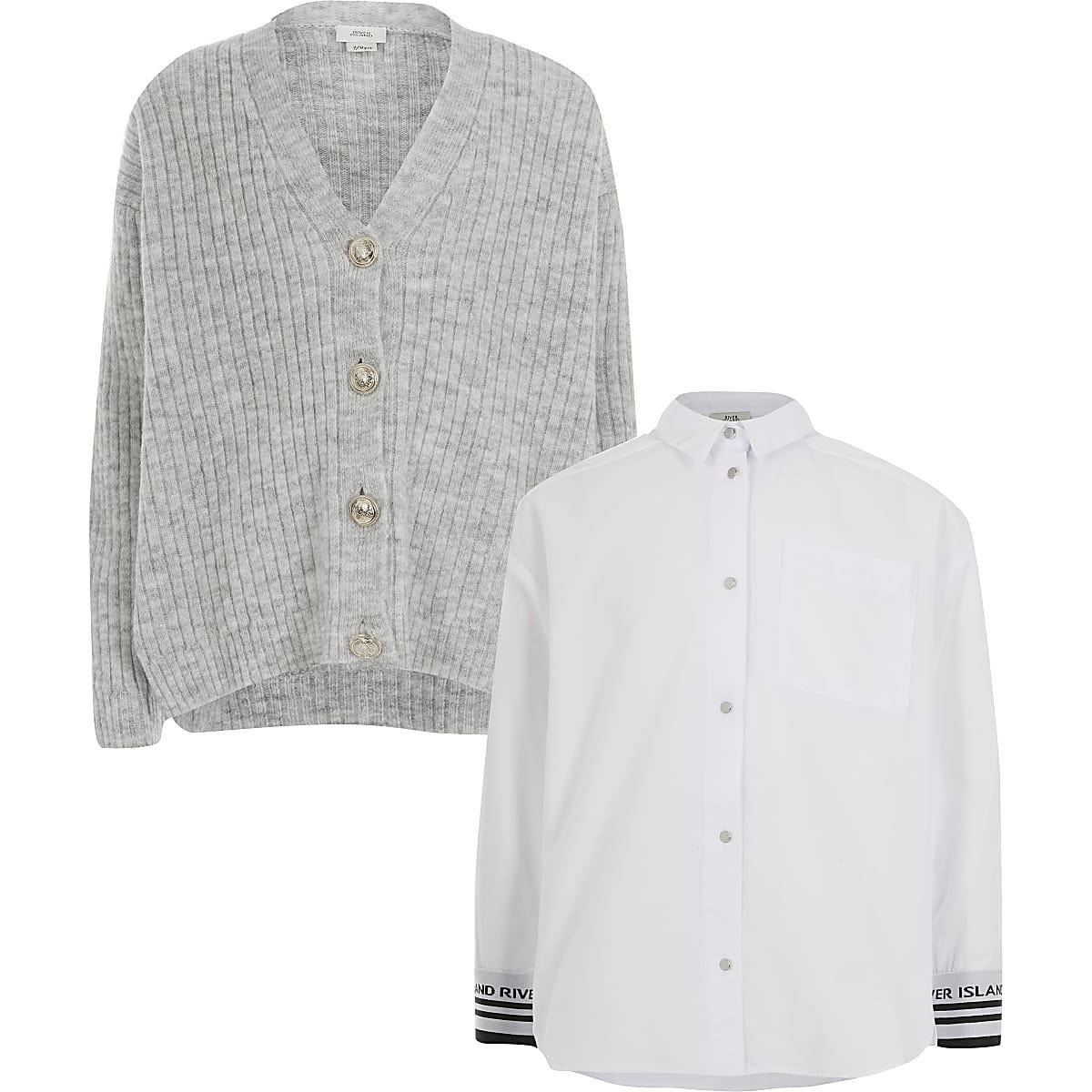 Ensemble avec chemise et cardigan gris pour fille