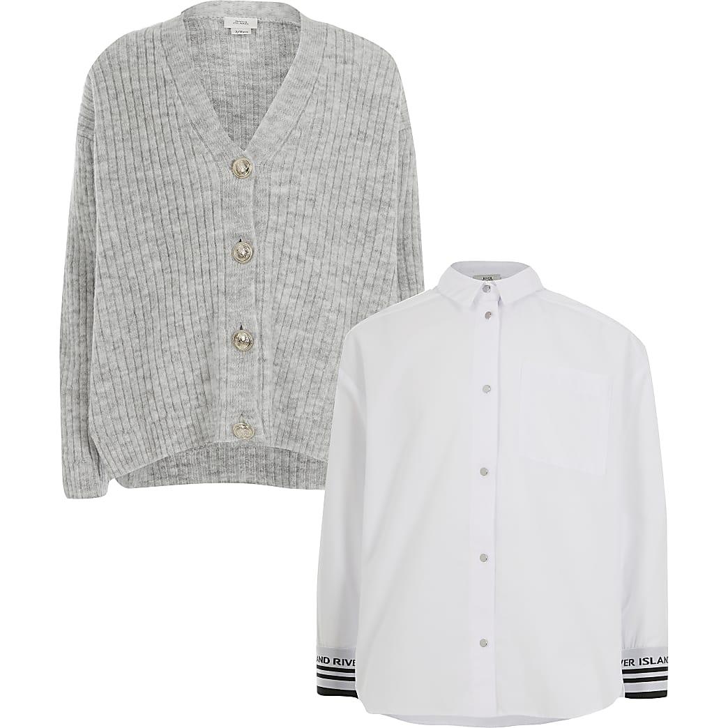 Set met grijs vest en overhemd voor meisjes