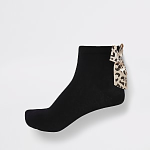 Schwarze Socken mit Leoprint, 2er-Pack