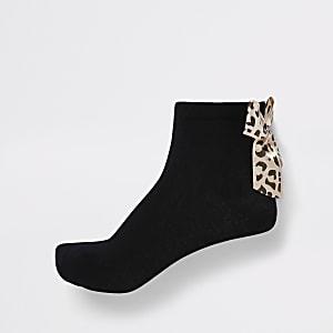 Lot de 2 paires de chaussettes noires motif léopard avec nœud à l'arrière fille