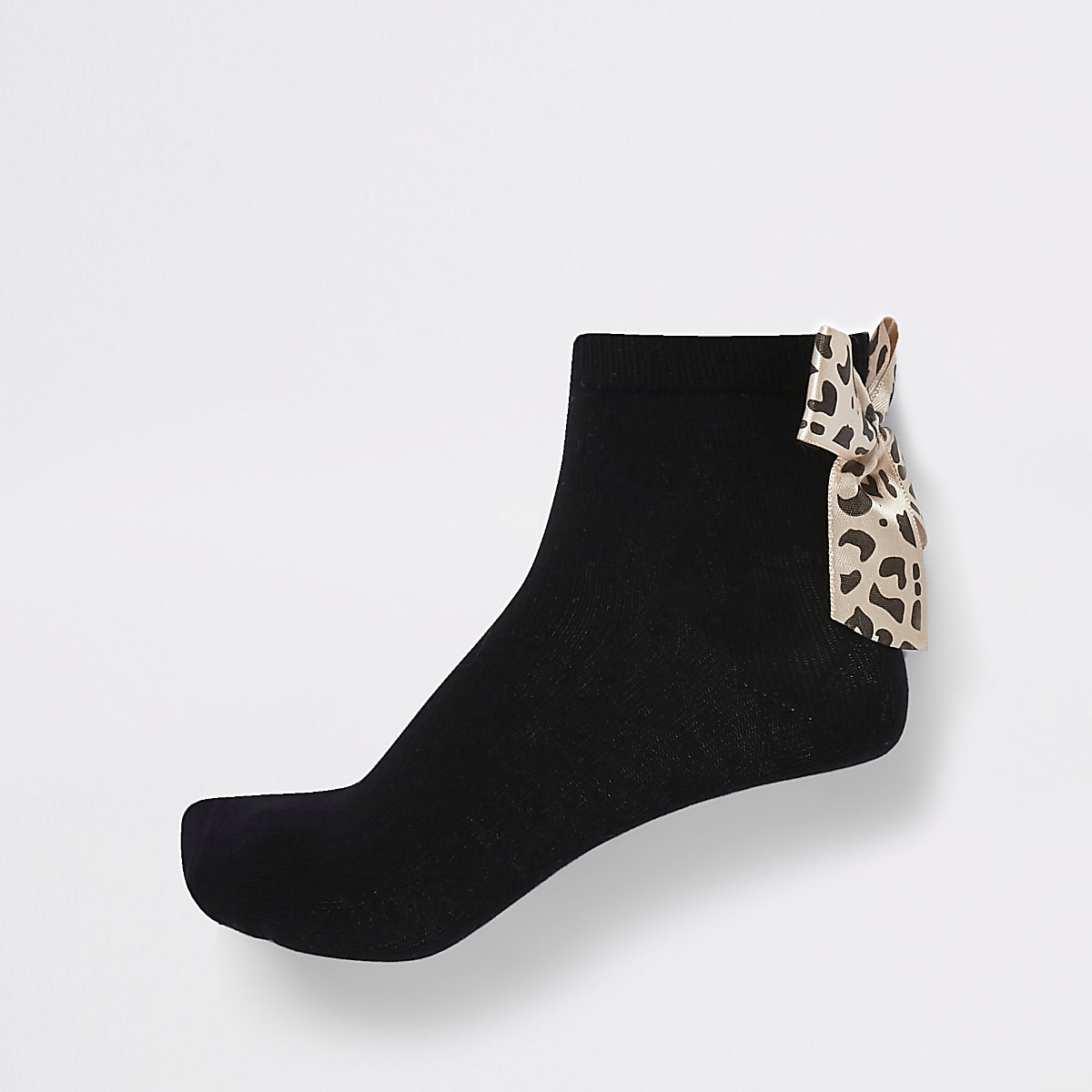 Girls black leopard bow back sock 2 pack