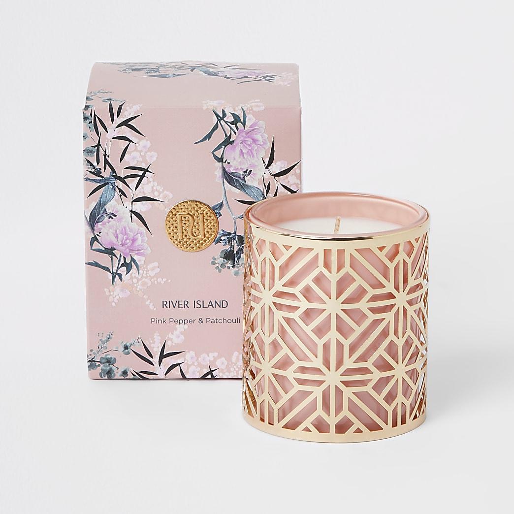 Geparfumeerde roze peper en patchouli kaars