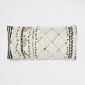 Cream sequin design cushion