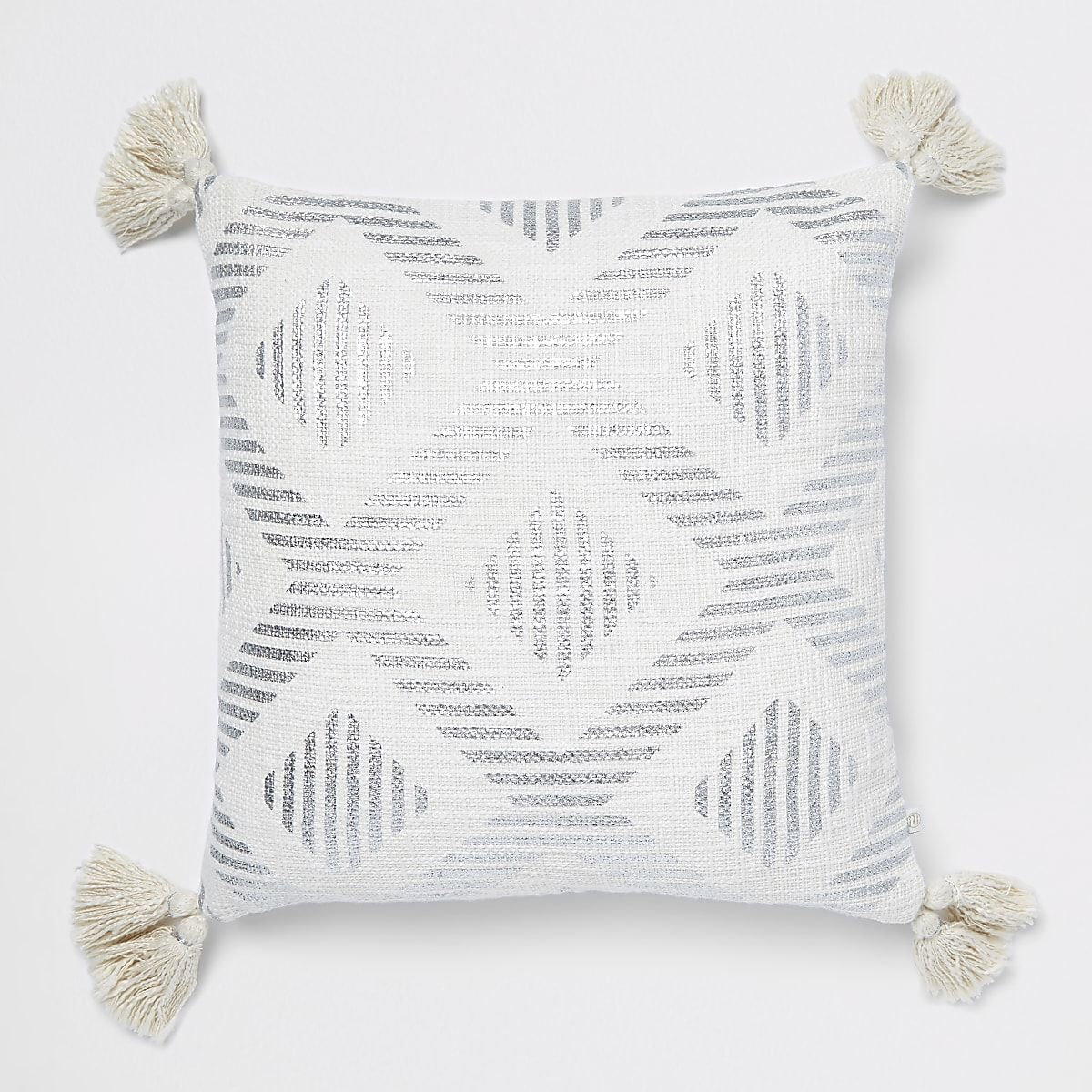 Silver print cushion with tassels