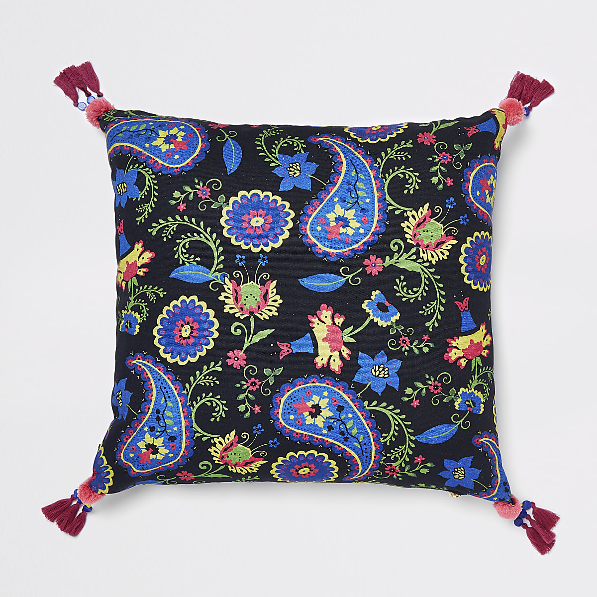 Black paisley cushion