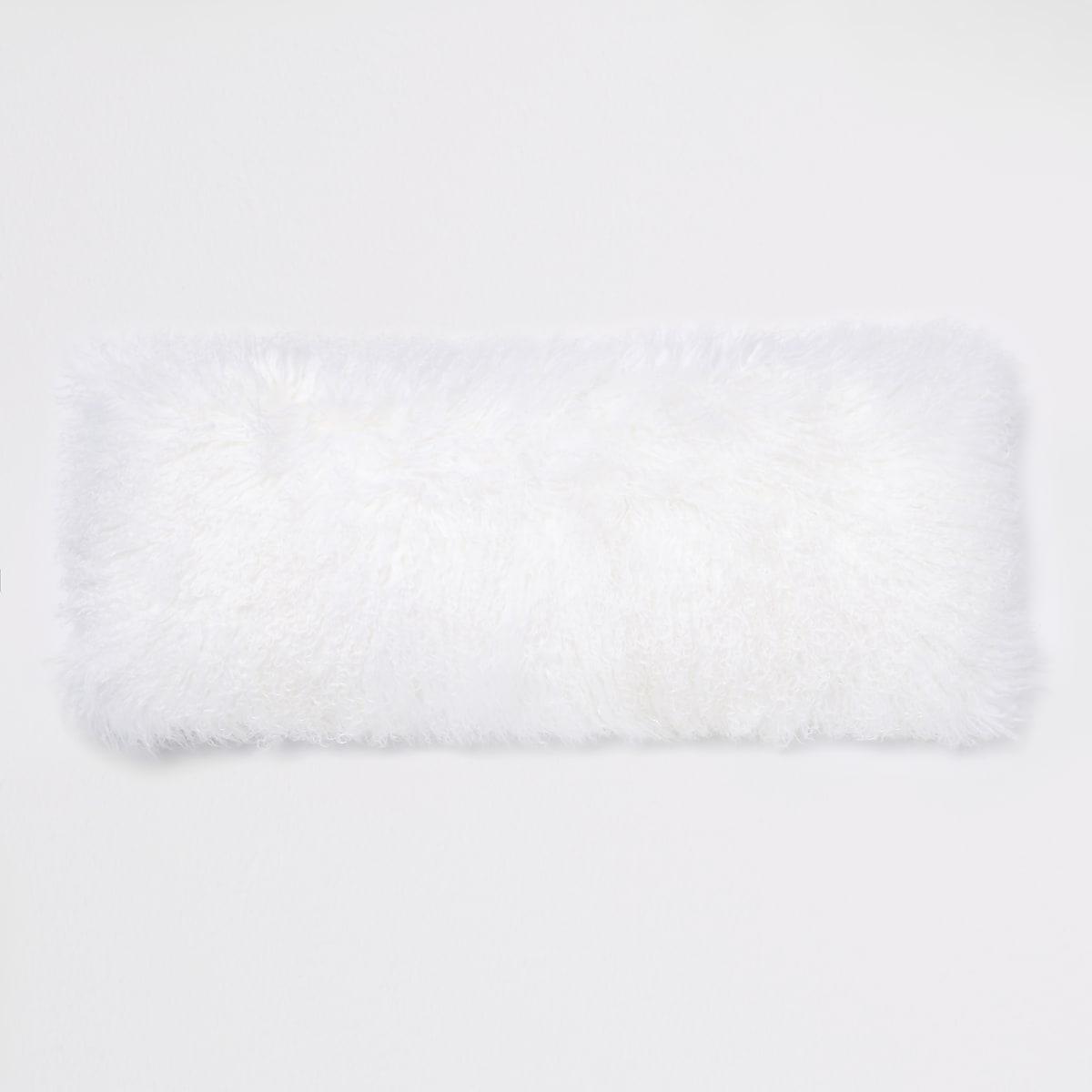 White Mongolian rectangle cushion