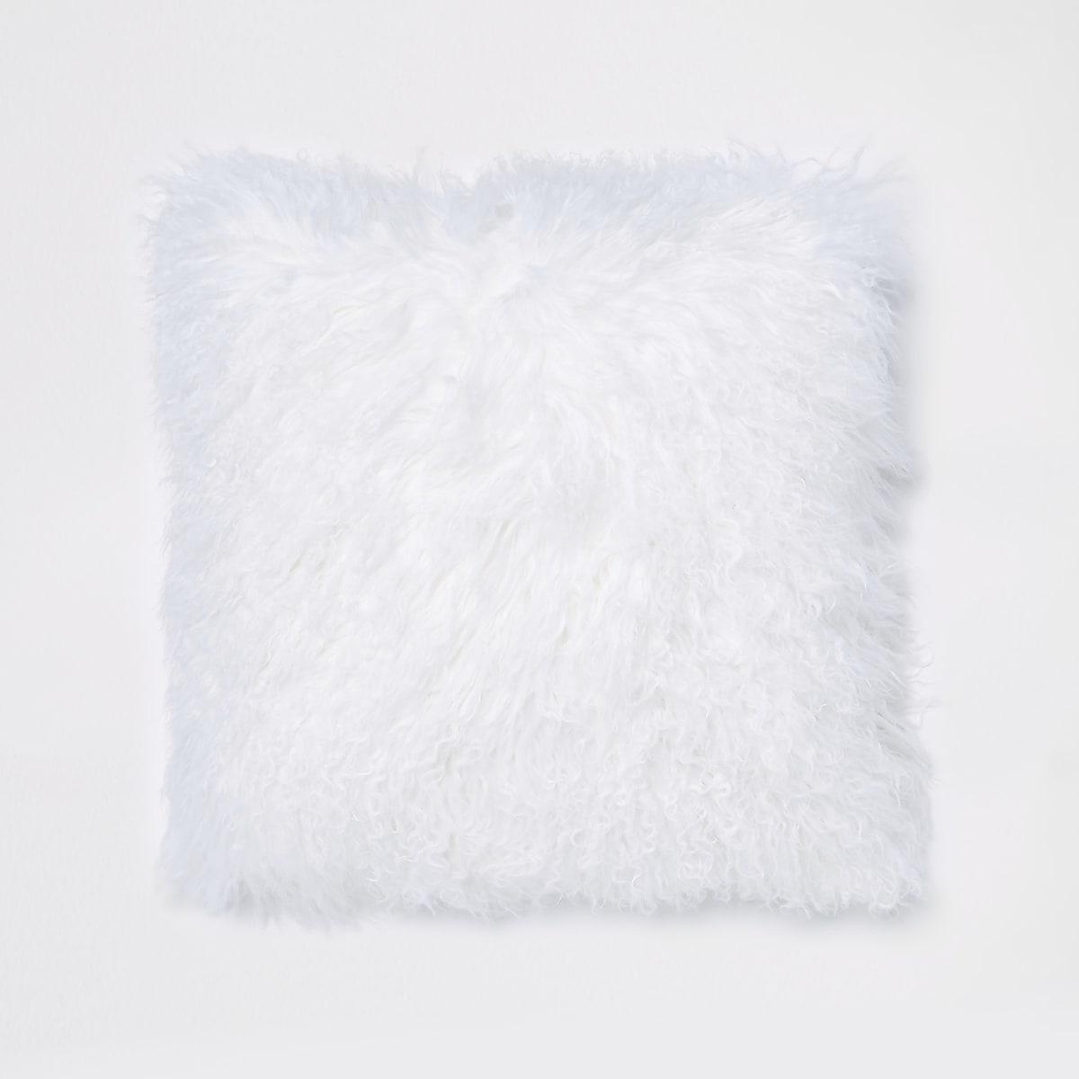 White Mongolian square cushion