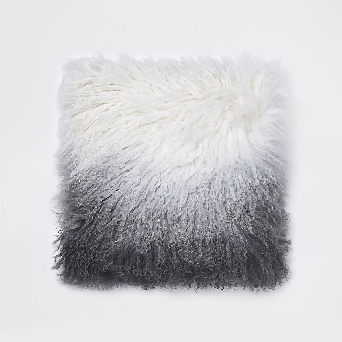 Grey ombre Mongolian cushion
