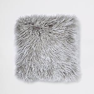 Coussin en fourrure de Mongolie gris à bordure