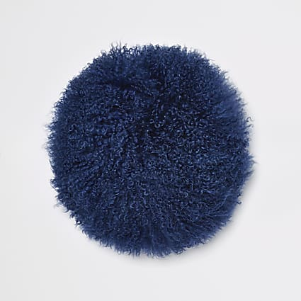 Navy Mongolian round cushion