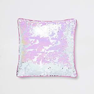 Paillettenverziertes Kissen in Pink und Silber