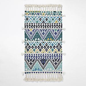 Tapis bleu géométrique à pampilles multicolores