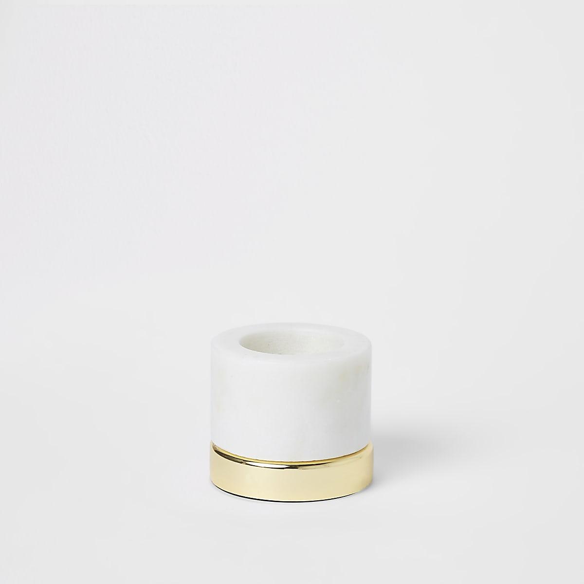 Petit bougeoir chauffe-plat en marbre à base en métal