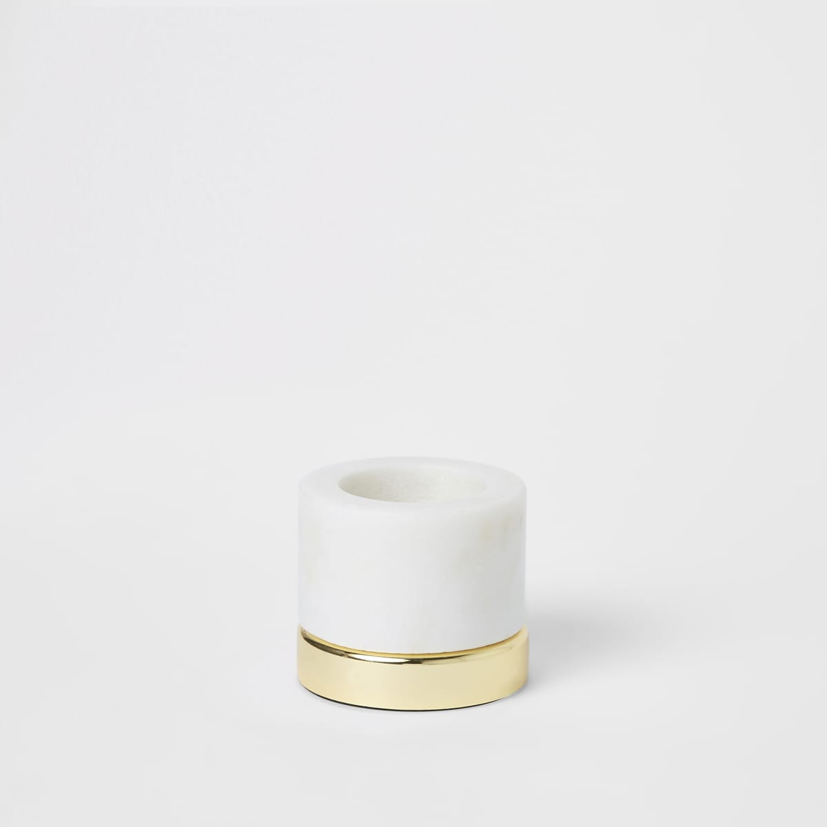 Small marble tealight holder with metal base