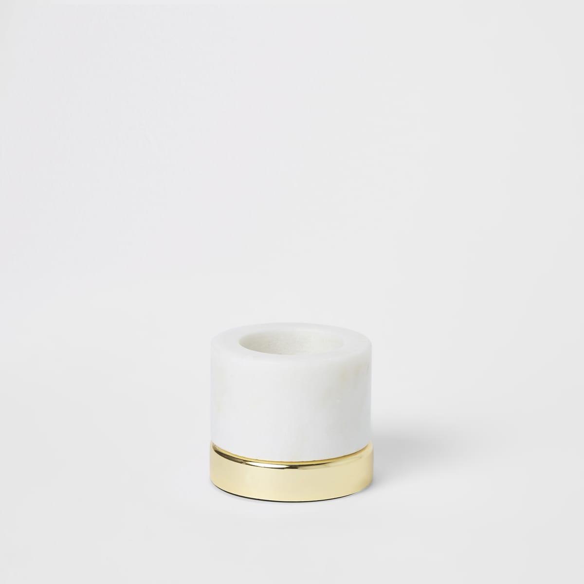 Kleine marmeren theelichthouder met metalen basis