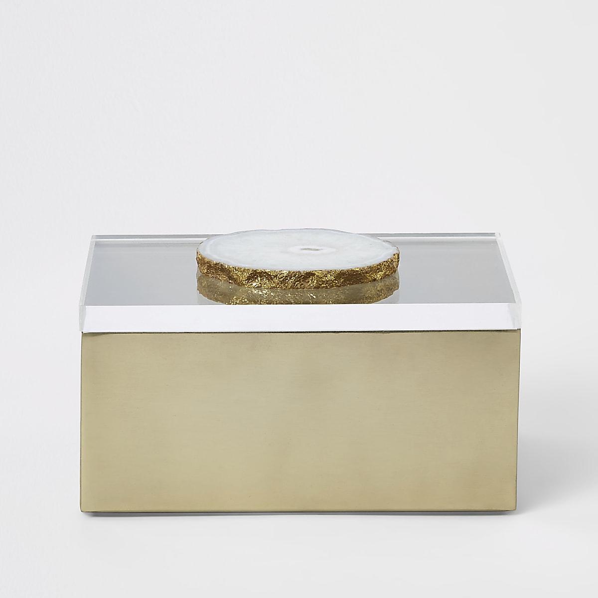 Storage box with perspex & agate lid