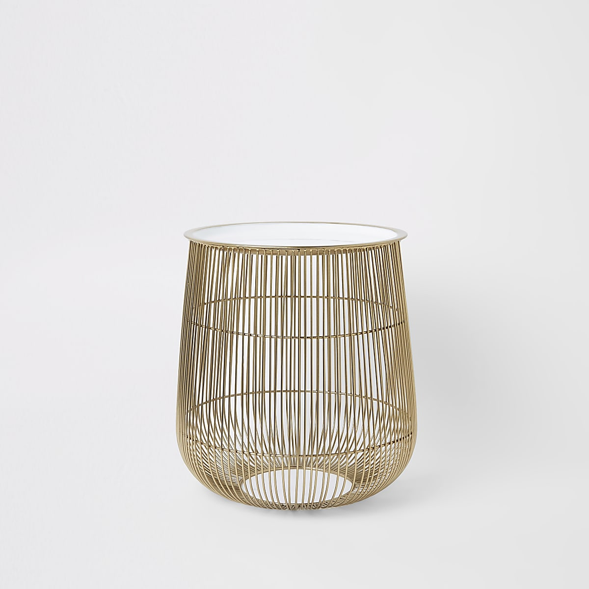 Small wire basket table with white lid
