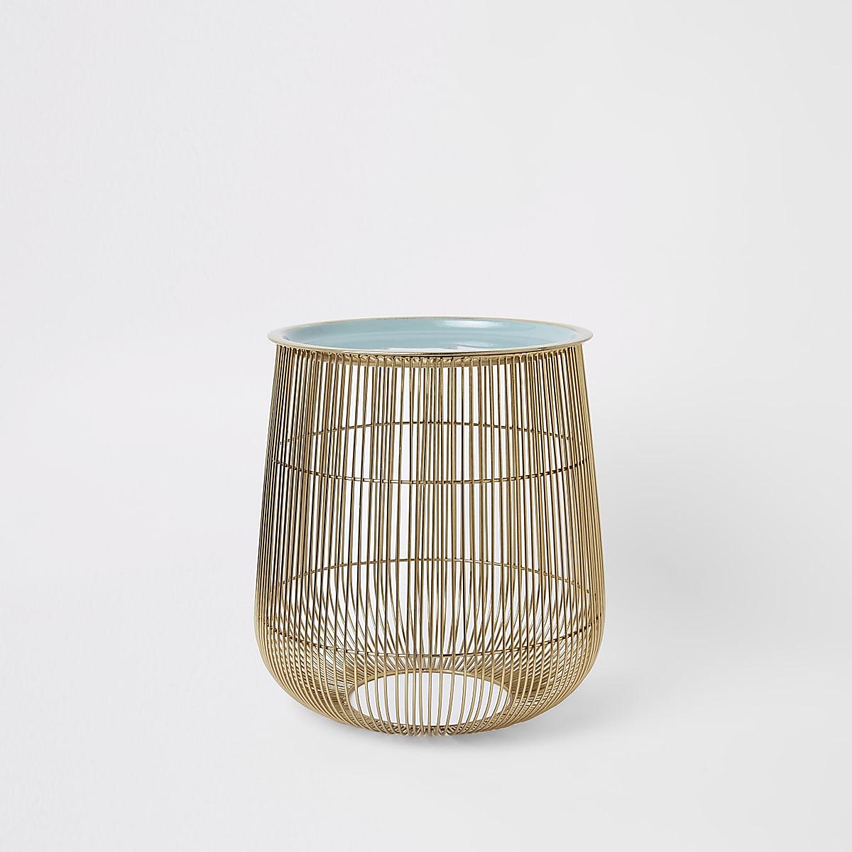 Petite table panier en fil de fer avec plateau vert sauge