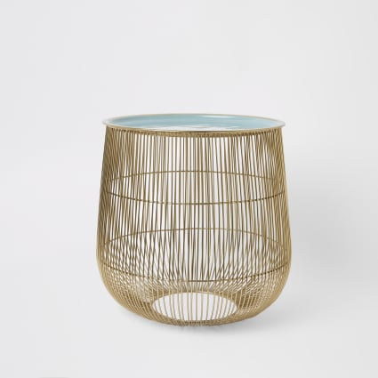 Large wire basket table with sage lid