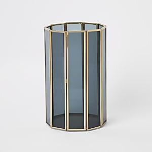 Smoked glass hurricane candle holder