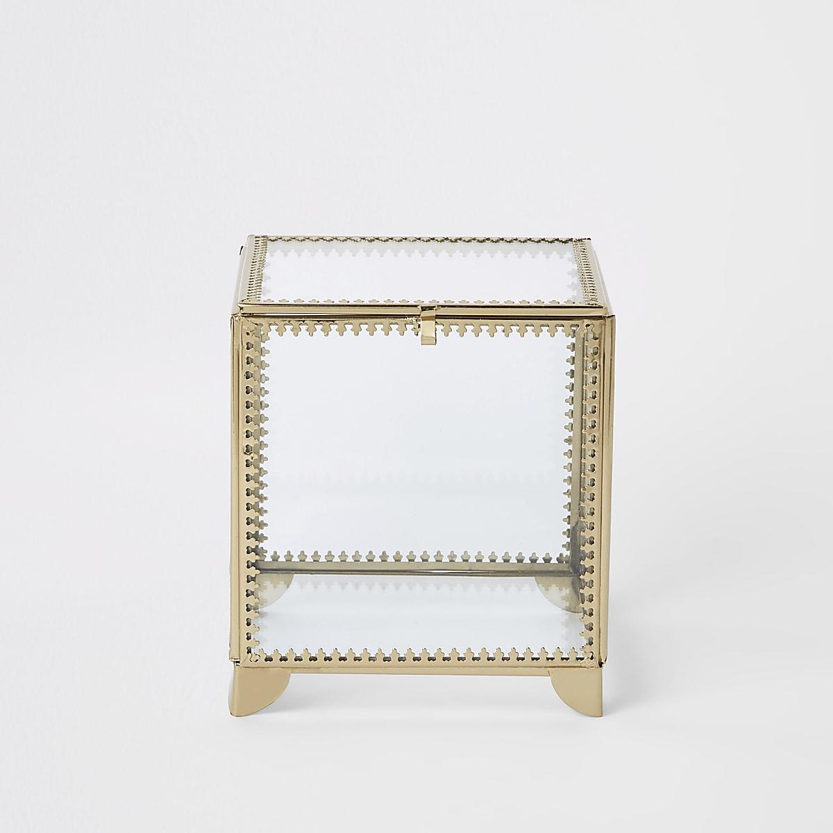 Petite boîte en verre avec bordure en métal