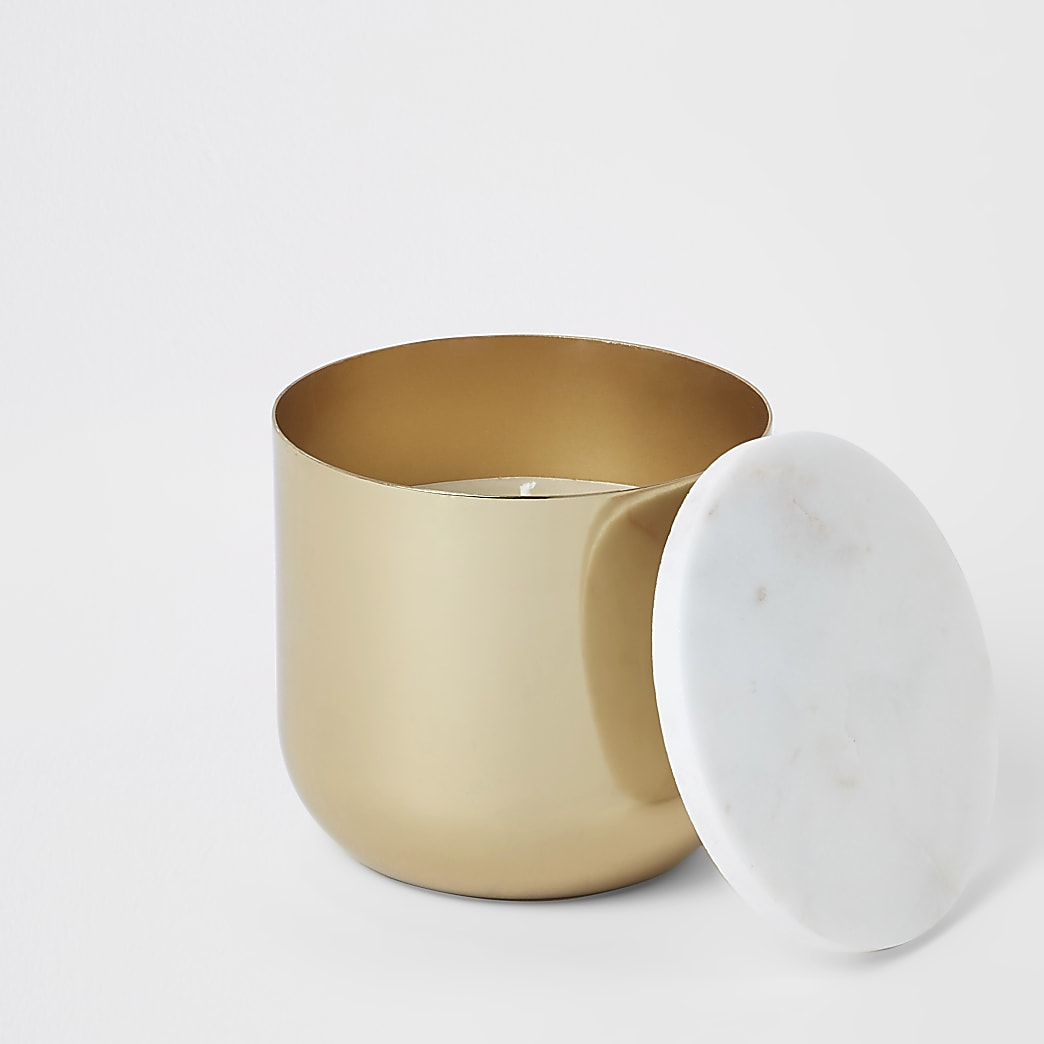 Marble topped vanilla scented candle gold