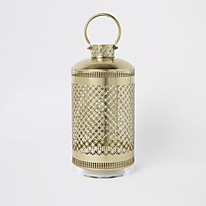 Large metal lantern with perspex base
