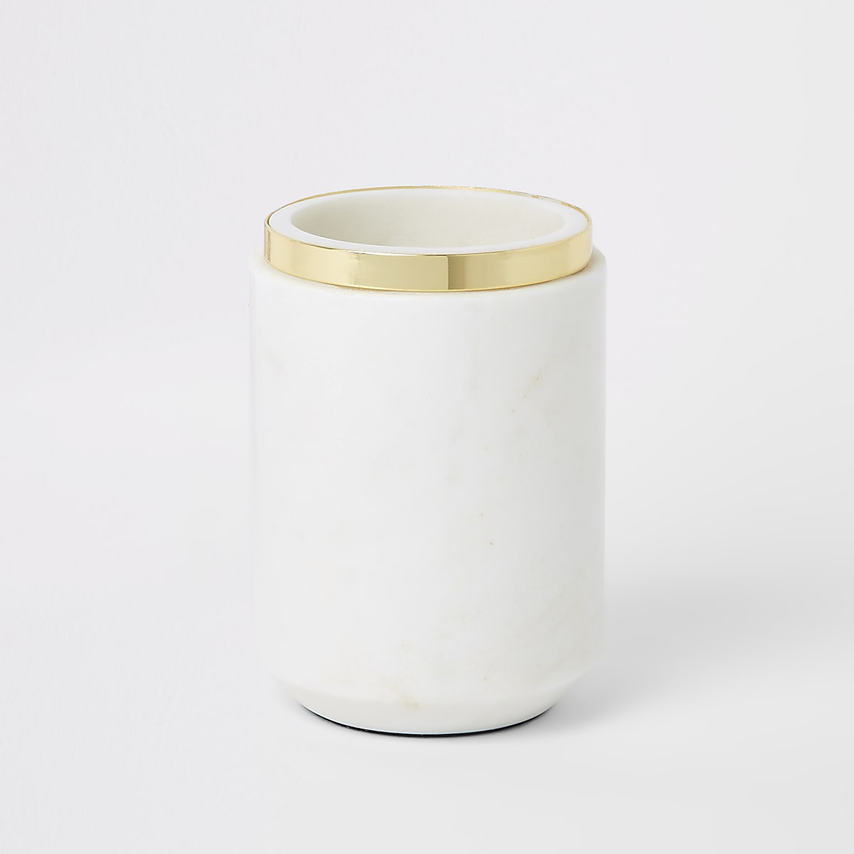 Vase en marbre à bord métallisé