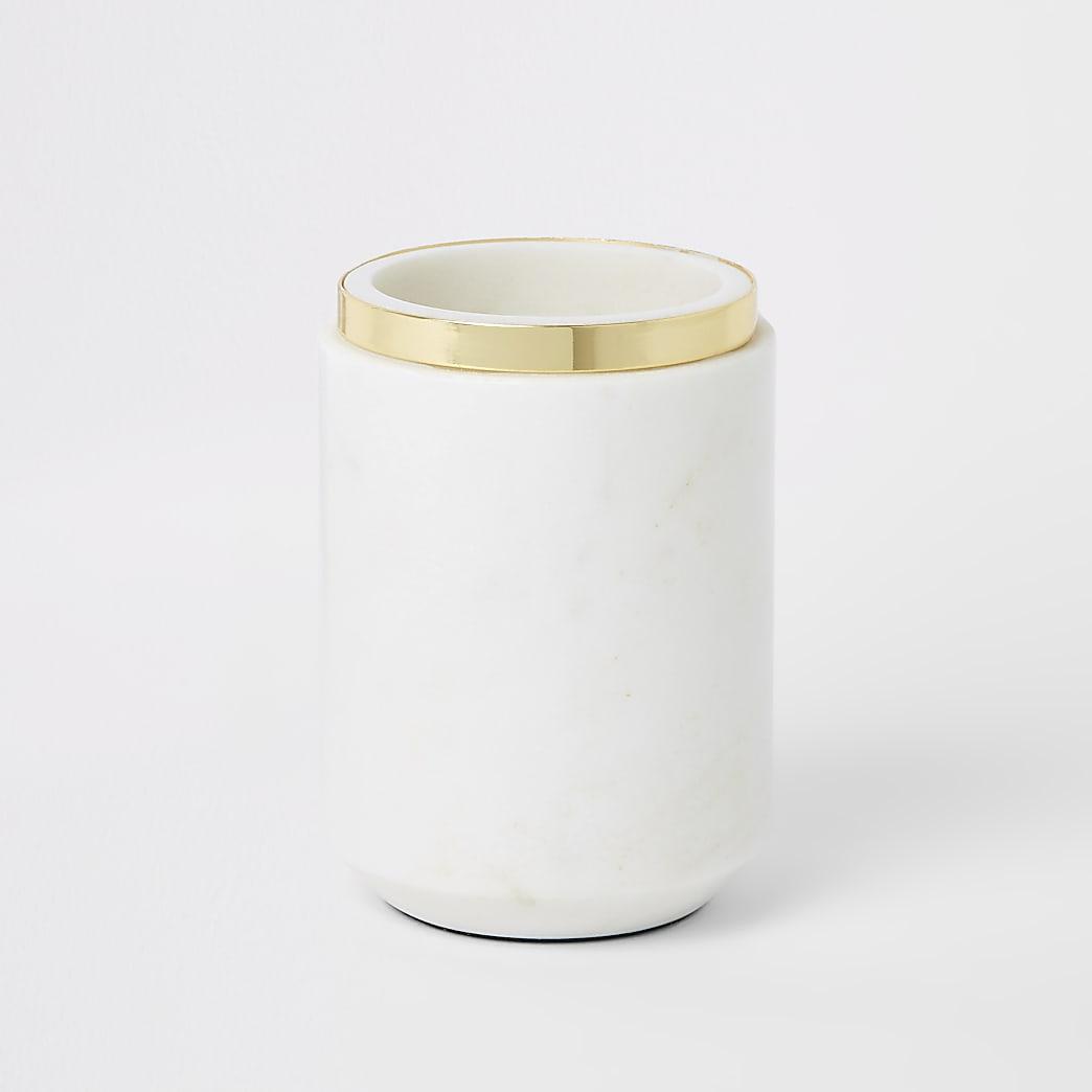 Marble vase with metal rim