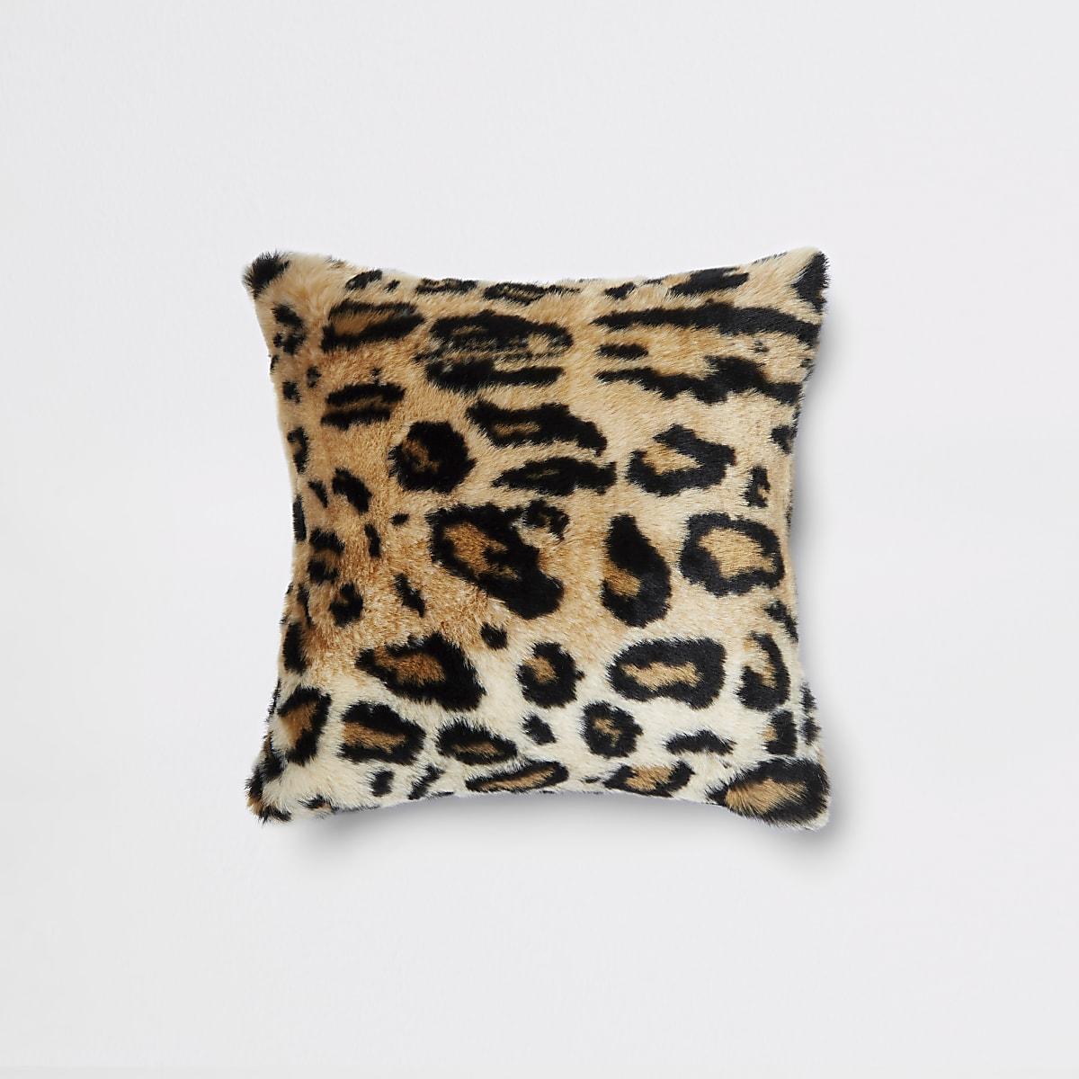 Leopard print faux fur cushion
