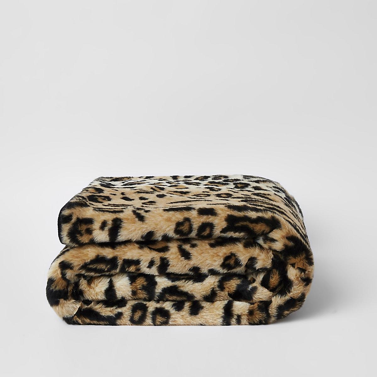 Plaid met luipaardprint en imitatiebont