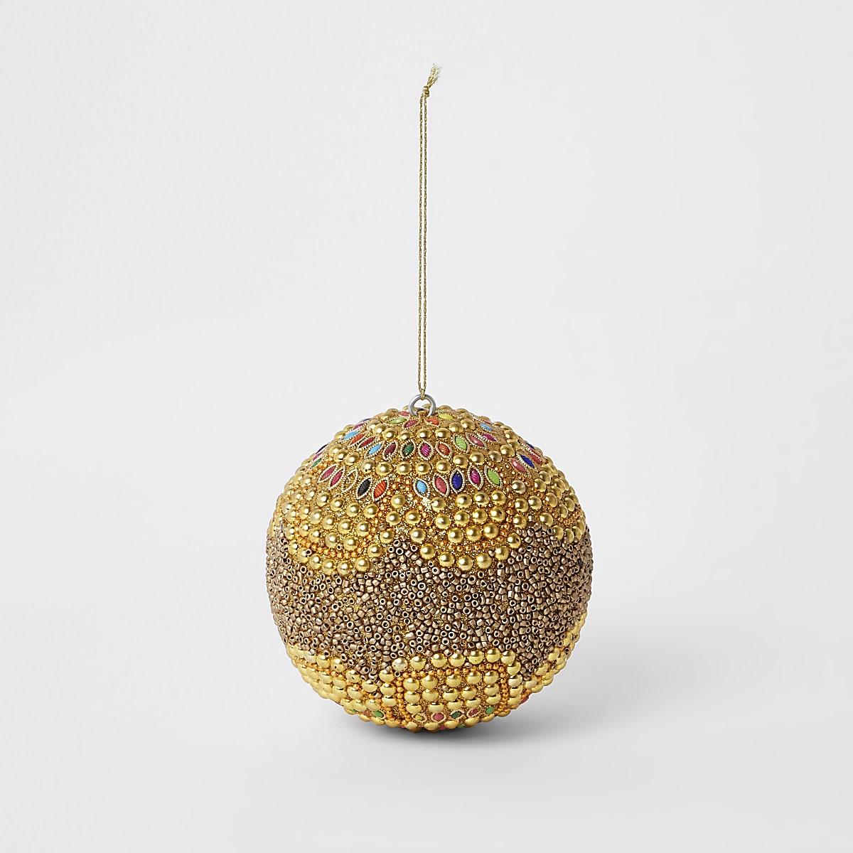 Image Brillante De Noel.Gold Beaded Bling Bauble