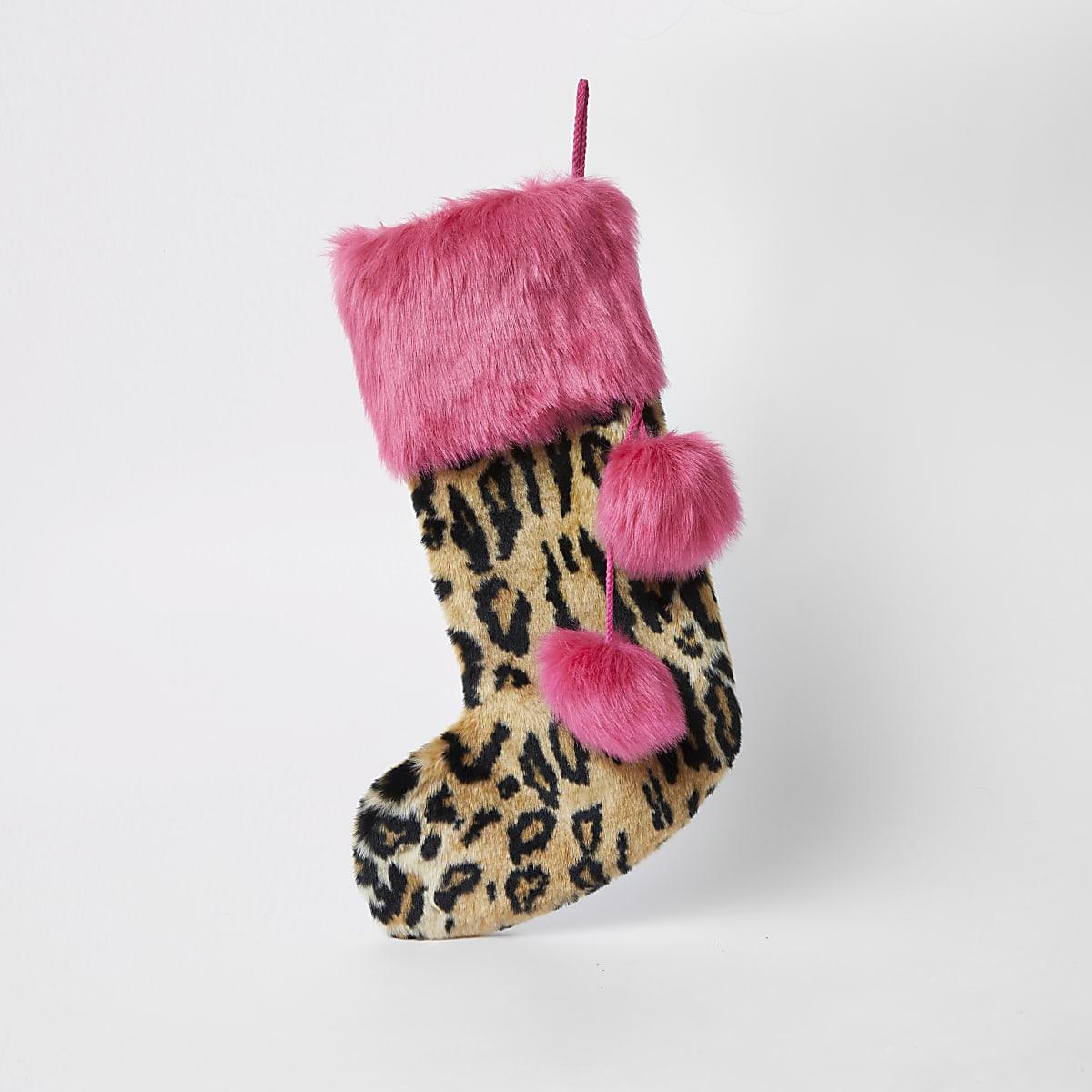 Chaussette de Noël léopard