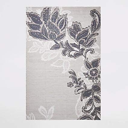 Recycled large grey floral printed rug