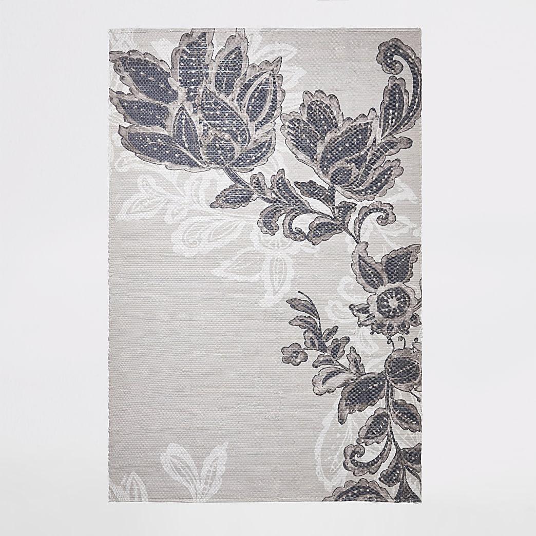 Gerecycled groot grijs vloerkleed met bloemenprint