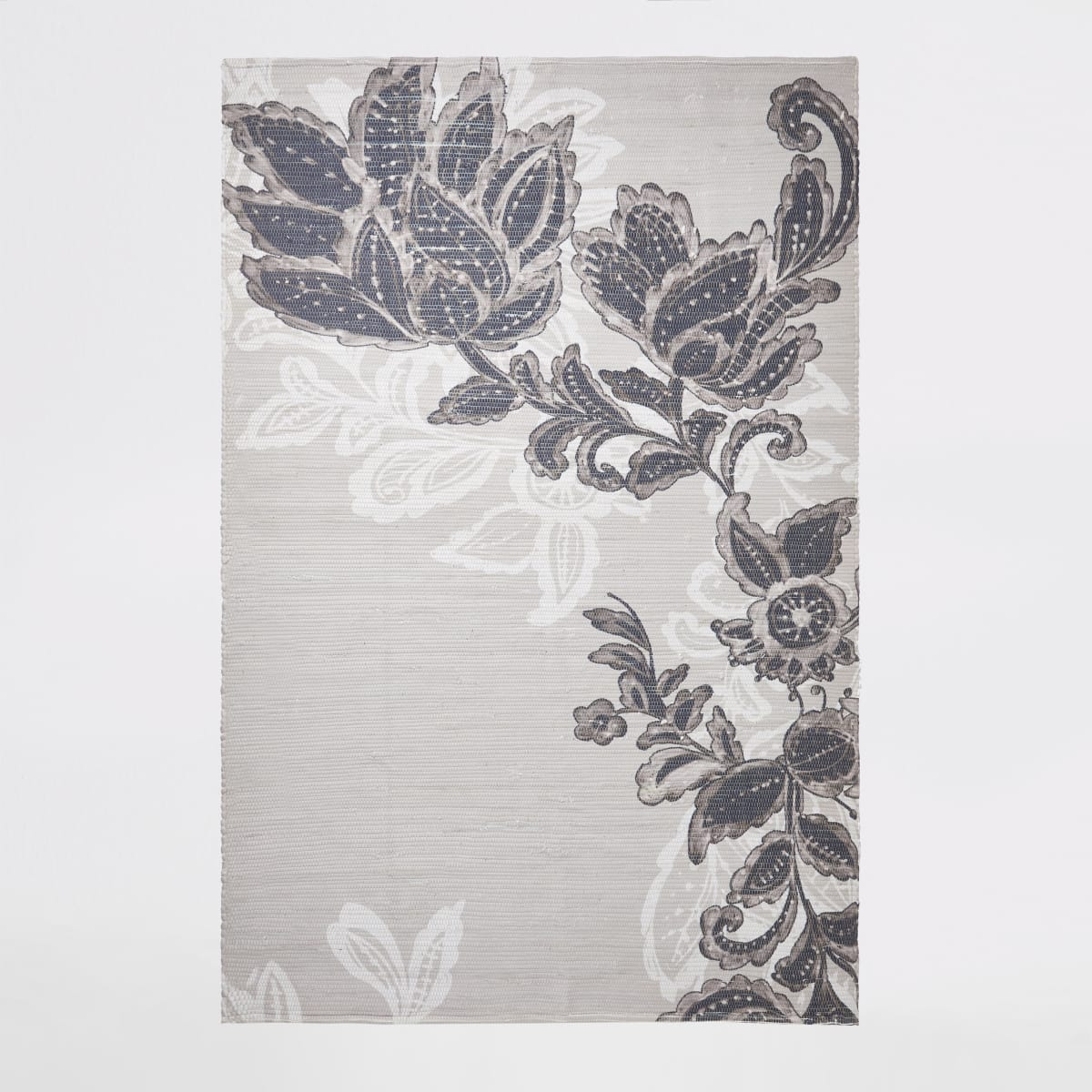 Recycled large grey floral printed rug