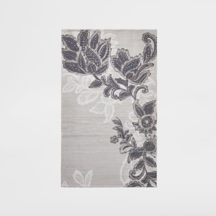 Recycled small grey floral printed rug