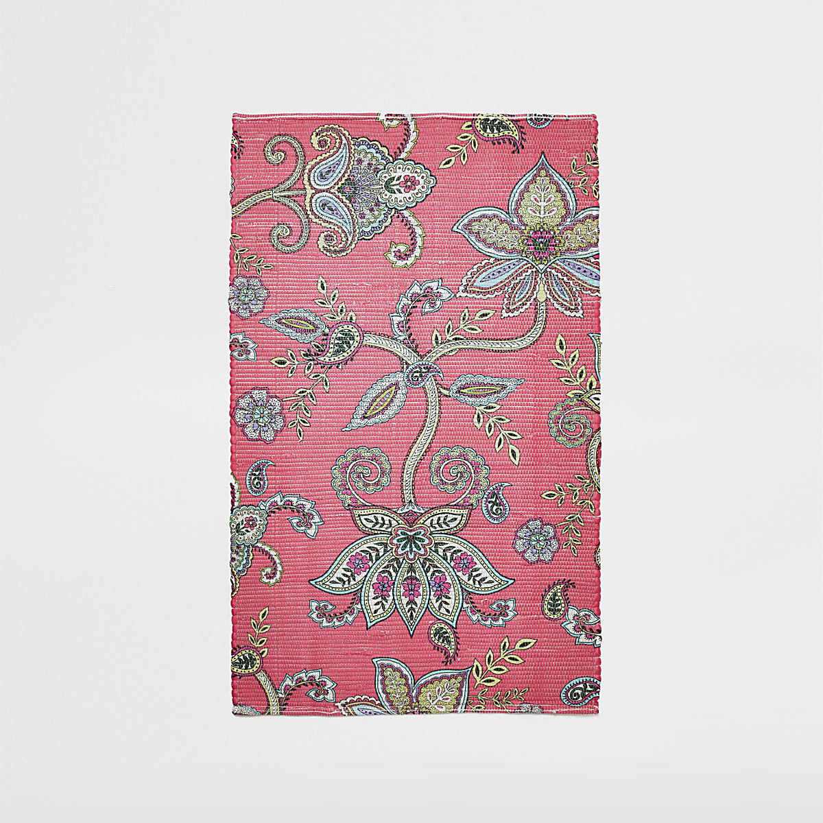 Recycled small pink floral printed rug
