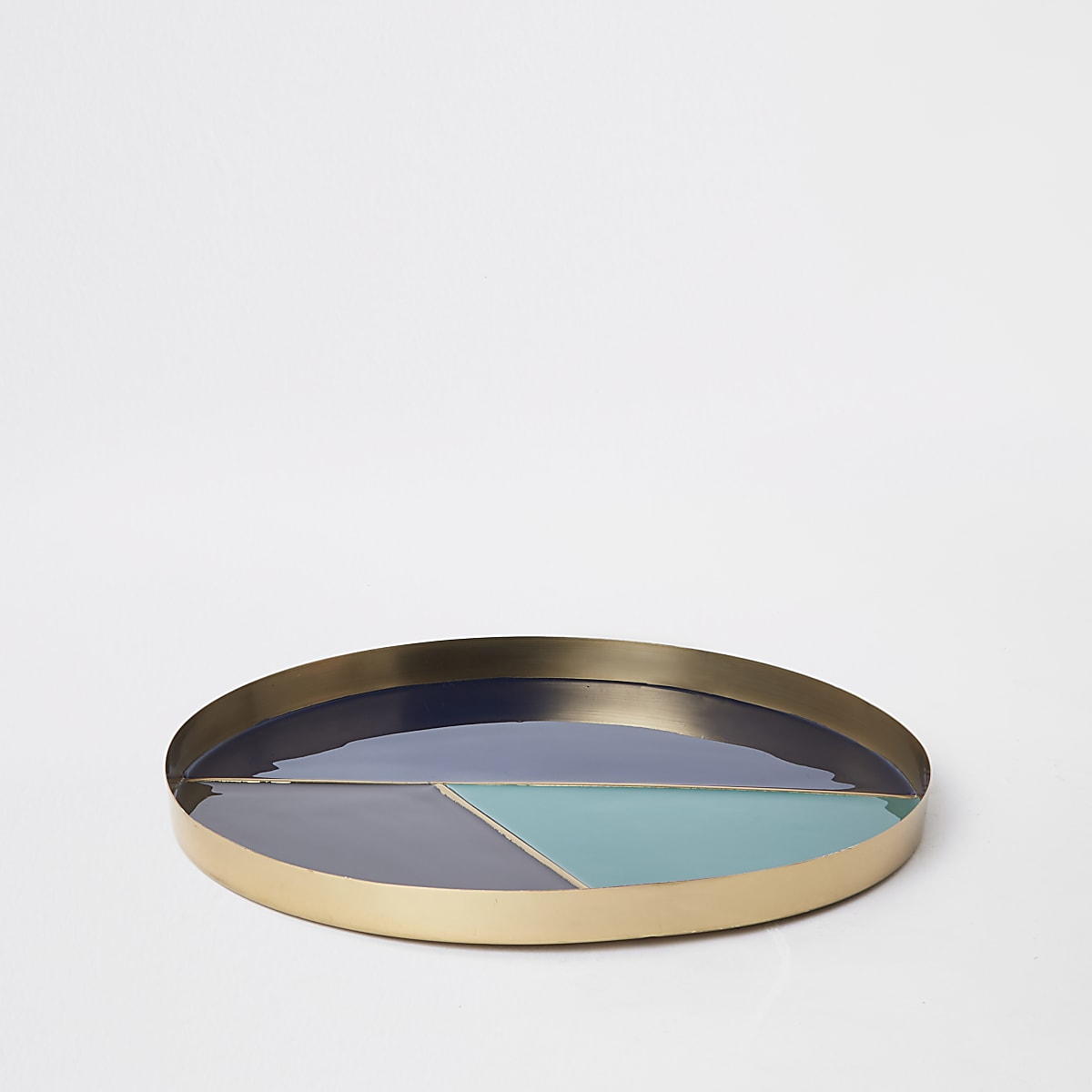 Blue color block round tray