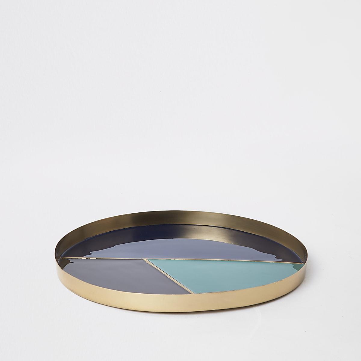 Blauw rond dienblad met kleurvlakken