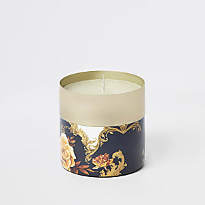 Blue ornate print vanilla candle