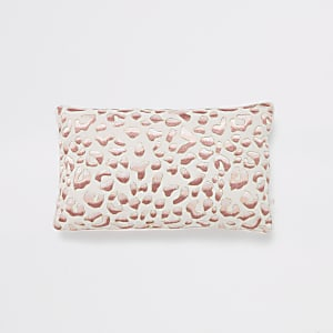Pink leopard embroidered rectangle cushion