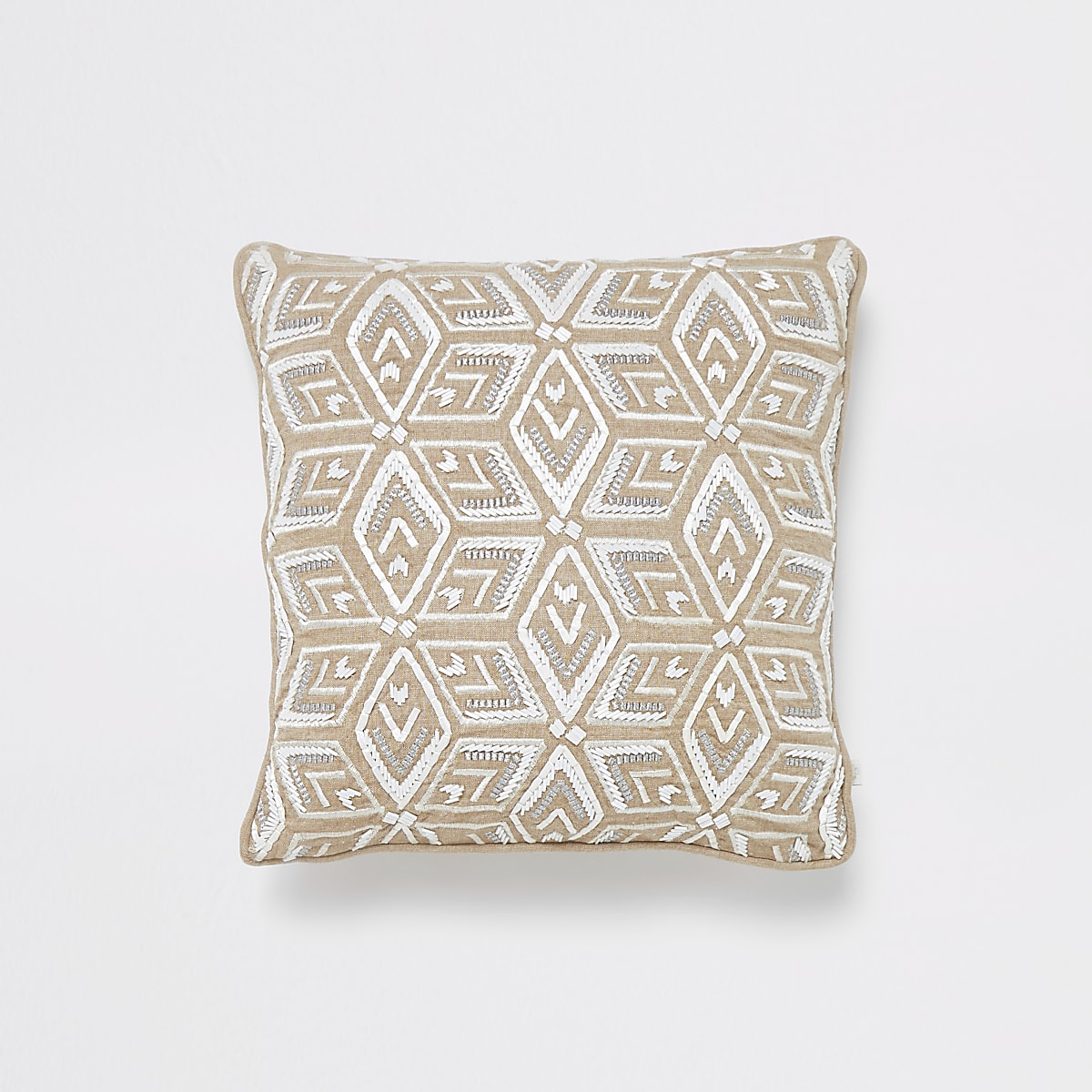 Light brown and white geo beaded cushion