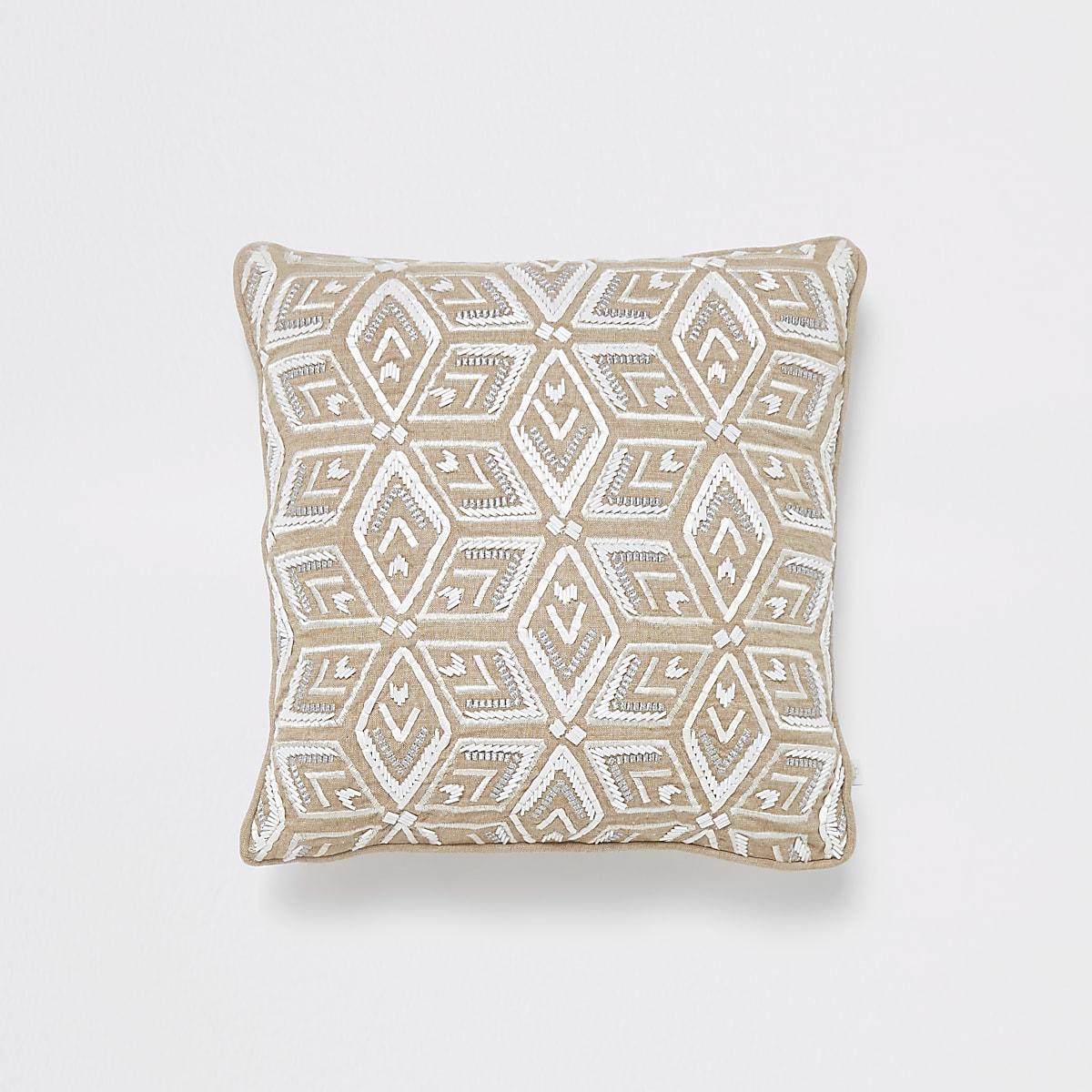 Light brown and white geo beaded cushion