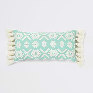 Grand coussin à motif géométrique brodé vert menthe